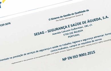 A SESAG, S.A. renovou a certificação do SGQ, com transição para a norma ISO9001:2015